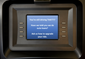 ATM with Auto Loan Message