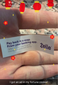 Fortune cookie with Zelle Ad